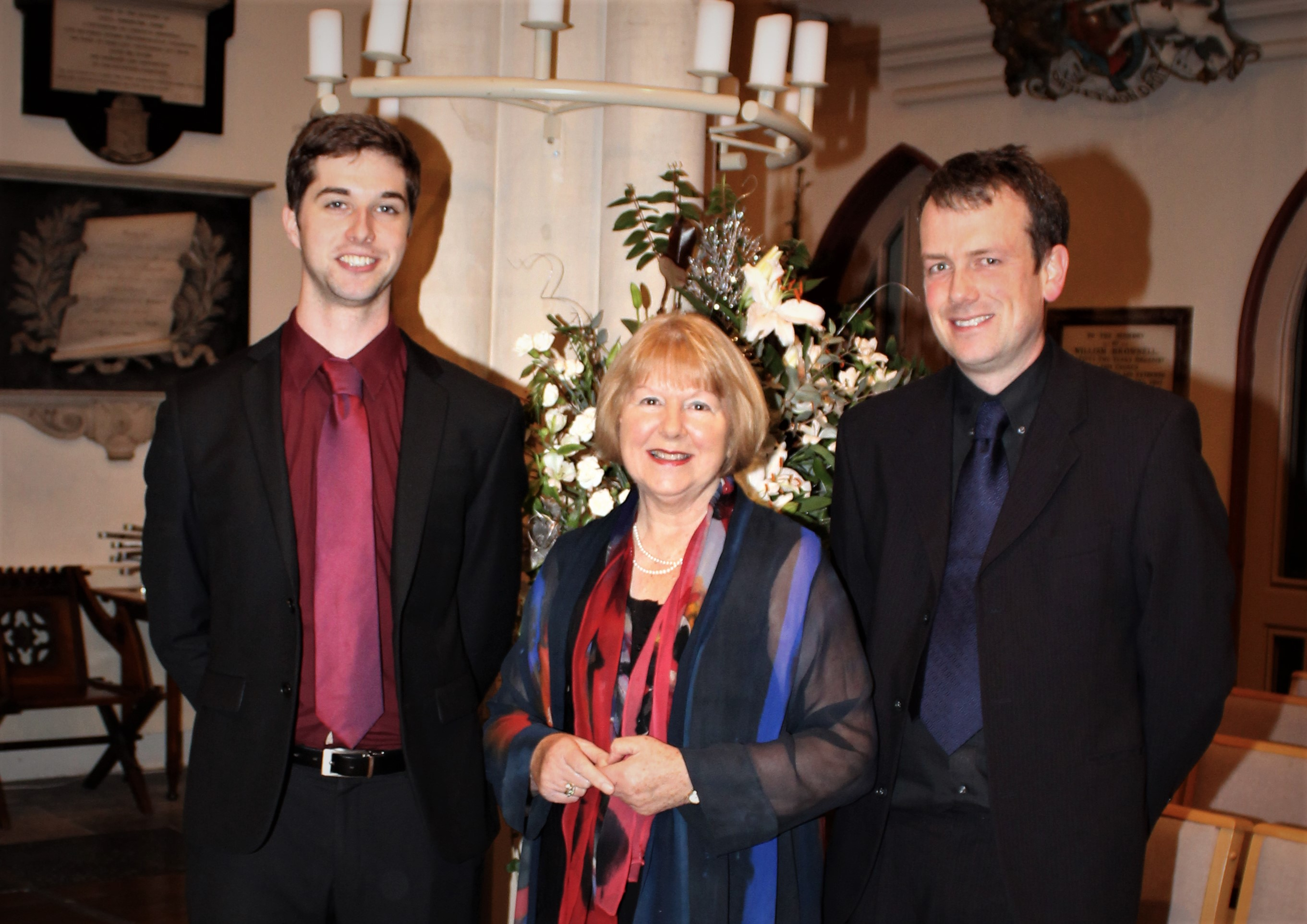 Phil Draisey and John Lowe with Marian McNeir