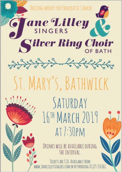 Concert 16 March 2019 with Jane Lilley Singers at St Marys Church Bathwick